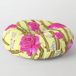 WHITE BUTTERFLIES & CERISE PINK ROSE THORN CANES YELLOW Floor Pillow