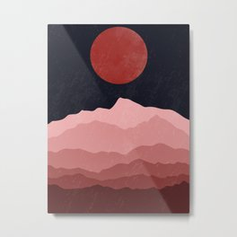 Full moon phase abstract contemporary landscape boho poster gradient colors of mountains Metal Print