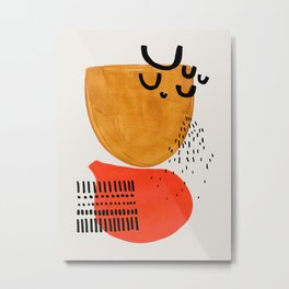 Summer Sun Mid Century Modern Abstract Minimalist Retro Vintage Style Fun Playful Yellow Ochre Orange Shapes Metal Print