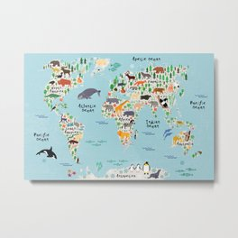 Animal World Map Metal Print