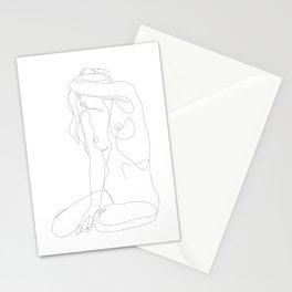 seclusion - one line nude Stationery Cards