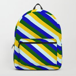 Yellow, Light Cyan, Blue, and Dark Green Colored Lined Pattern Backpack