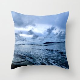 Blue and Silver Sunset Shore Throw Pillow