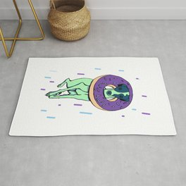 Alien Iggy Dog Wearing a Space Donut - Green Whippet Greyhound in a Purple Glaze Doughnut Dessert With Sprinkles Rug