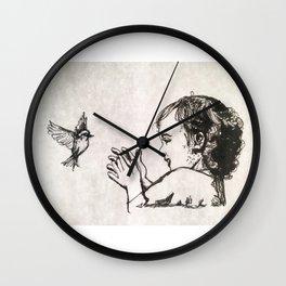 Little bird, Little girl Wall Clock
