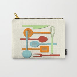 Kitchen Colored Utensil Silhouettes on Cream III Carry-All Pouch
