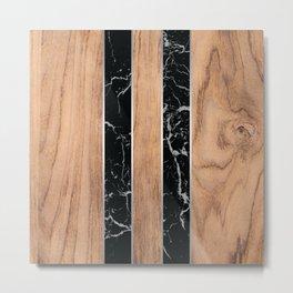Striped Wood Grain Design - Black Granite #175 Metal Print