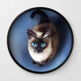 Siamese Cat (Digital Drawing) Wall Clock