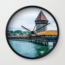 Chapel Bridge (Kapellbrucke) | Lucerne Switzerland Medieval Architecture City Photography Wall Clock