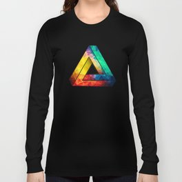 Abstract Polygon Multi Color Cubism Low Poly Triangle Design Langarmshirt
