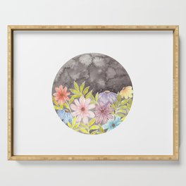 Watercolor Spring Flowers and Starred Sky Serving Tray