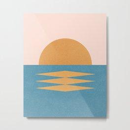 Sunrise Geometric - Midcentury Style Metal Print