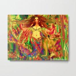 Red mermaid art  nude ladykashmir Metal Print