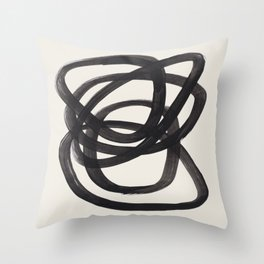 Mid Century Modern Minimalist Abstract Art Brush Strokes Black & White Ink Art Spiral Circles Deko-Kissen