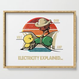 Ohm Volt Amp Electricity Explained Vintage Electrician Nerd T-Shirt Serving Tray