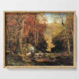 Cresheim Glen Wissahickon Autumn 1864 1 By Thomas Moran | Daytime Hike Watercolor Reproduction Serving Tray