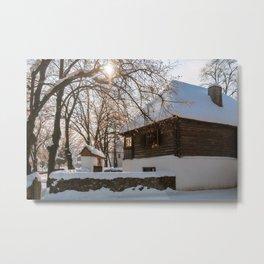Winter tale in an old Romanian village Metal Print