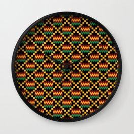 Green, Dark Red, Yellow Gold Kente Cloth on Black Wall Clock