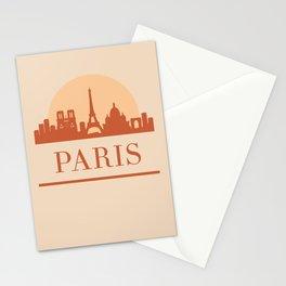 PARIS FRANCE CITY SKYLINE EARTH TONES Stationery Cards
