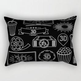 Vintage Hollywood Movie Screening Pattern Rectangular Pillow