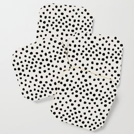 Preppy brushstroke free polka dots black and white spots dots dalmation animal spots design minimal Coaster
