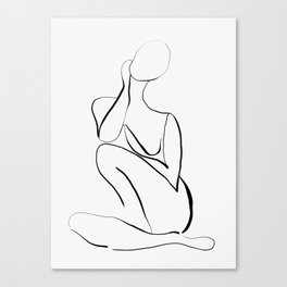 Female Figure Line Art Canvas Print