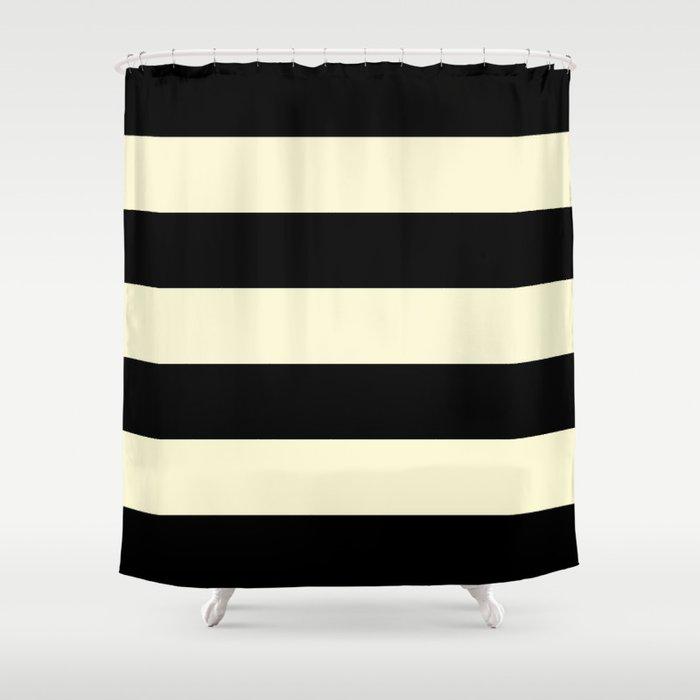 Black And Cream Stripe Shower Curtain, Black And Cream Shower Curtain
