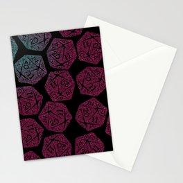 d20 dice pattern - darker gradient pastel - icosahedron Stationery Cards