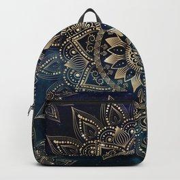 Elegant Gold Mandala Blue Galaxy Design Backpack
