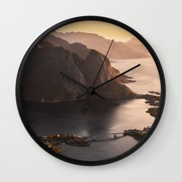 Sunrise and Mountains, Lofoten Islands Norway.  Wall Clock