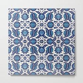 Iznik Pattern Blue and White Metal Print