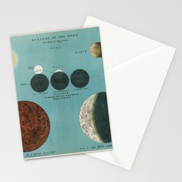 An astronomy lithograph the Eclipse of the Moon printed in 1908, an antique celestial chart of phases of the moon in the solar system Stationery Cards