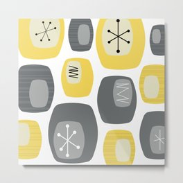 Mid Century Modern Oblongs Yellow Gray Metal Print