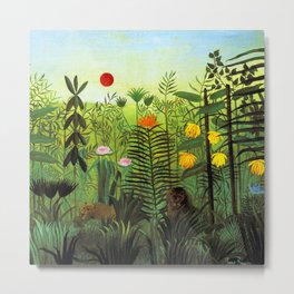 "Henri Rousseau ""Exotic Landscape with Lion and Lioness in Africa"" Metal Print"