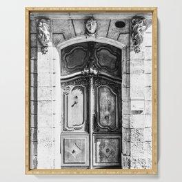 Doorway   Hotel de La Grange Nimes France Vintage Rustic Old World Black and White Architecture Serving Tray