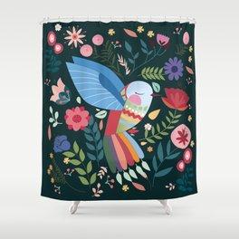 Folk Art Inspired Hummingbird With A Flurry Of Flowers Shower Curtain