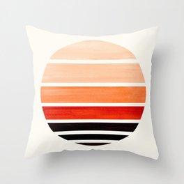 Burnt Sienna Mid Century Modern Minimalist Circle Round Photo Staggered Sunset Geometric Stripe Desi Throw Pillow