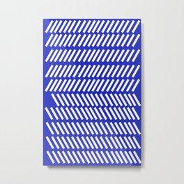 geometric blue slash Metal Print