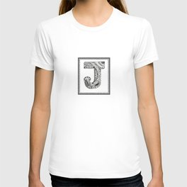 Zentangle J Monogram Alphabet Initials T-shirt