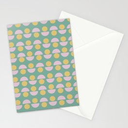Scandinavian Geometric Pattern in Green, Lavender and Yellow Stationery Cards