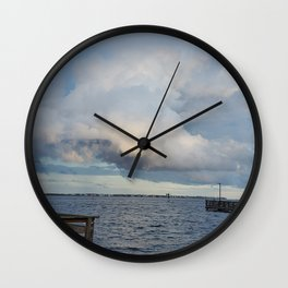 Storm over the inlet Wall Clock