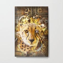 Steampunk Cheetah Metal Print