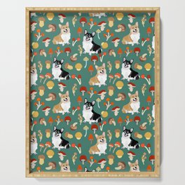 Happy Corgis In Fall Forest Searching For Mushrooms I - Teal  Serving Tray