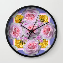 PINK & WHITE ROSES ON GOLD LILAC ART Wall Clock