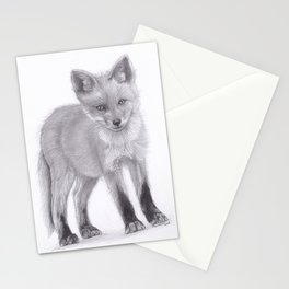 Baby Red Fox - Pencil Drawing Wildlife Artwork Stationery Cards