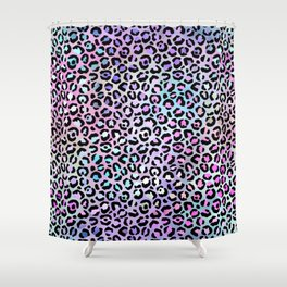 Rainbow Leopard Spots Pattern Shower Curtain