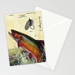 Vintage Trout Fly Fishing Lure Patent Game Fish Identification Chart Stationery Cards