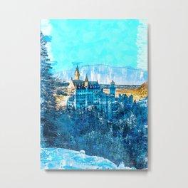 Blue Ice Vintage Castle. For Vintage Castle Lovers. Metal Print