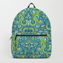 Paisley Pattern in Blue, Green & Turquoise Backpack