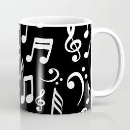 Music notes Pattern Black and White Coffee Mug